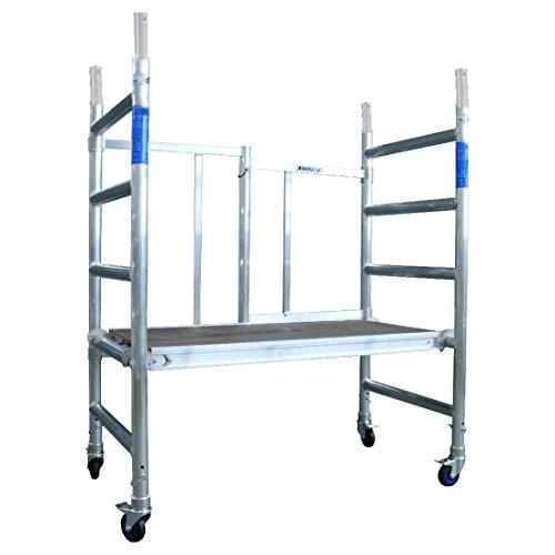 Alumexx ALX X-up 1.0, Klappgerüst, X-Rohrkonstruktion, Aluminiumgerüst, Mini-Gerüst, Rollgerüst, Alu-Gerüst, Sehr kompakt, Aluminium (Aluminium, 3M arbeitshöhe)