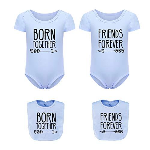 culbutomind Baby Strampler Beste Freunde Für Immer Fun Baby Geschenke Geburt Erstausstattung 2 Baby Lätzchen(Beste Freunde Blau 4M)
