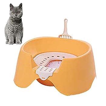 FXQIN Bac à Litière pour Chat - Toilette pour Chat Ouverte, détachable et Facile à Nettoyer, avec Pelle à litière, Anti-éclaboussures et contrôle des odeurs, Orange
