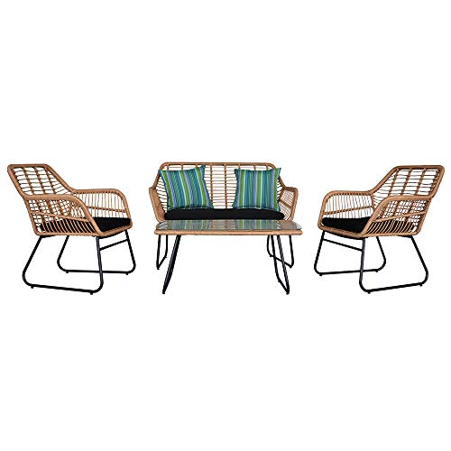 4 Piece Wicker Rattan Patio Sets Garden Furniture Sets, Indoor/Outdoor Conversation Sets 1x Loveseat Chair, 2 x Single Chairs, 1x Rectangular Tempered Glass Table, Removable Black Cushions【UK STOCK】
