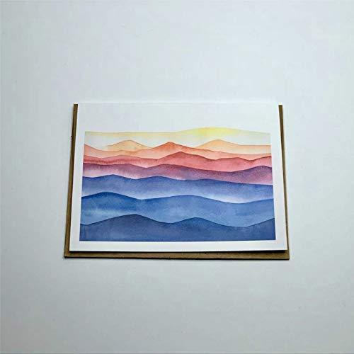 Sommergebirge Karte Wasserfarben Karte Bergkarte Pnw Grußkarten Karten Schreibwaren Geschenke Großpackung Geschenke Grußkarten mit Umschlägen Lustige Karte 25,4 x 17,8 cm pa074