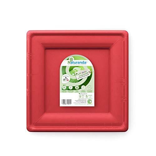 Naturanda – Piatti Quadrati Rossi (20cm) Biodegradabili Usa e Getta, Made in Italy, Bio Riciclabili Rigidi Feste di Compleanno in Giardino, Party, Stoviglie Compostabili Ecologiche – (8pz)