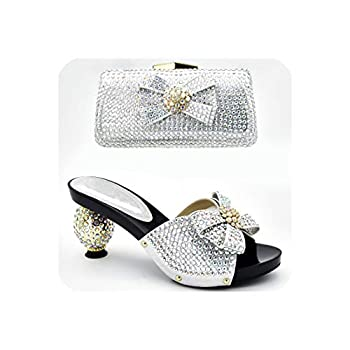 Luxury Shoes Women Shoes with Matching Bags Set Decorated with Rhinestone High Heeled Shoes,Silver,10