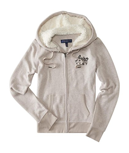 Aeropostale Womens Knit Fleece Fur Hoodie Tan X-Small