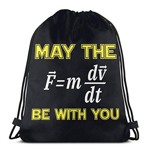 QUEMIN Physics May The Be with You Bolsa de Almacenamiento con cordón, Lavable, Viajes, Deportes, Gimnasio, Mochila para Hombres y Mujeres, 14,2 x 16,9 Pulgadas / 36 x 43 cm