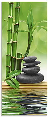 Artland Glasbilder Wandbild Glas Bild einteilig 50x125 cm Hochformat Asien Wellness Zen Spa Steine Bambus Entspannung Grün T5OP