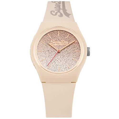 Superdry Damen Analog Quarz Uhr mit Silikon Armband SYL179C