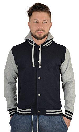 SH-Topshop - Stefan Hohenwarter Herren College Jacke mit Wunschjahrgang Bedruckt - Rückenmotiv - Baseball Jacke mit Kapuze - Farbe: Navyblau