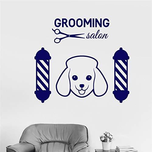 Vinyl Muursticker Verzorging Huisdier Hond Logo Schoonheid Salon Schaar Stickers Art Decor Huisdecoratie Woondier Muursticker 58x65cm