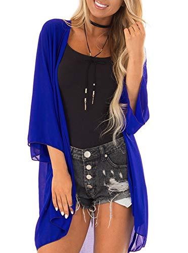 Women 3/4 Sleeve Kimono Cover Up Sheer Chiffon Blouse Tops Loose Long Cardigan Royal Blue X-Large