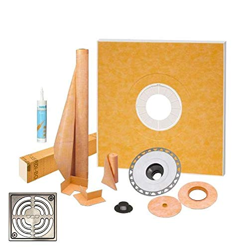 """Schluter Kerdi Shower Kit 38"""" x 38"""" Shower Tray (KSK965BF) with 2"""" PVC Bonding Flange, Strainer, Joint Sealant and 4"""" Stainless Steel Brushed Nickel Grate"""