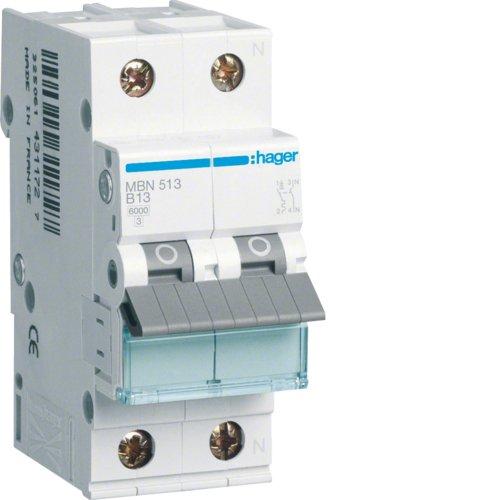 Hager MBN513 LS-Schalter 1P+N 6kA B-13A 2M