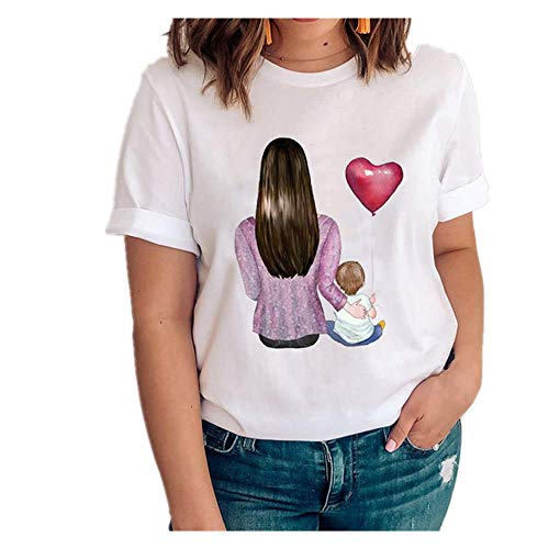 Mujeres Gráfico Amor Manga Corta Dibujos Animados Madre Hija Ropa Señora Tops Ropa Impresión Mujer Camisa - - X-Large