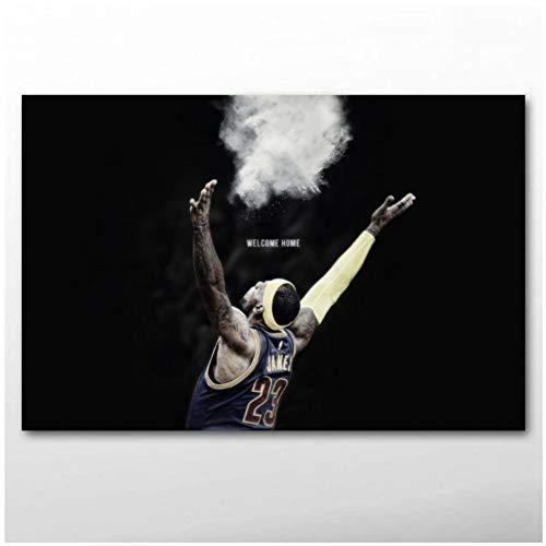 sjkkad Lebron James schwarzer Hintergrund Basketball Sport Poster Wandkunst Drucke Leinwandbilder für Wohnzimmer Dekor -60x90cm Kein Rahmen