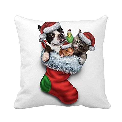 N\A Throw Pillow Cover Pet Holiday Stocking and Christmas Animals Group in Red Pillowcase Home Decorative Square Pillow Case Cushion Cover