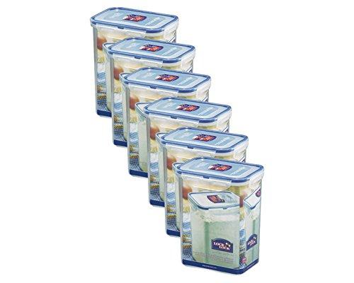 ZIP Premium Frischhaltebox | Multifunktionsbox | Frischhaltebehälter | Mehldose | Inhalt: 1,8 Liter, spülmaschinengeeignet | Lock&Lock HPL813 | 6 Stück