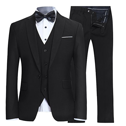 Men's Slim Fit 3 Piece Suit One Button Blazer Tux Vest & Trousers, Black, XXXL-Large