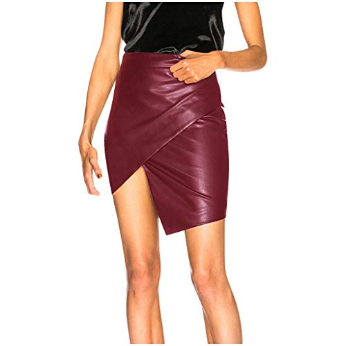 Damesrok van leer, sexy, damesrok, korte asymmetrische rok met gekruiste gleuf.
