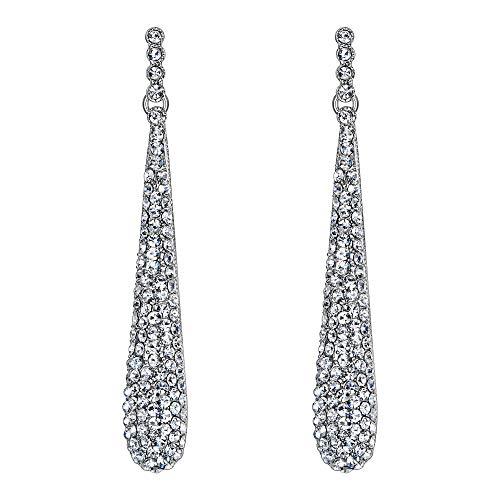 Pendientes Largos de Mujer - Clearine Aretes en Forma de Lágrima, Estilo Elegante Precioso Cristales para Boda Novia Fiesta Plateado
