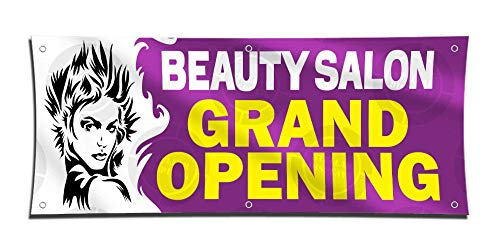 Beauty Salon Grand Opening Banner 2ft X 5ft Vinyl Sign Hair Stylist Poster Boutique Shop Event Display