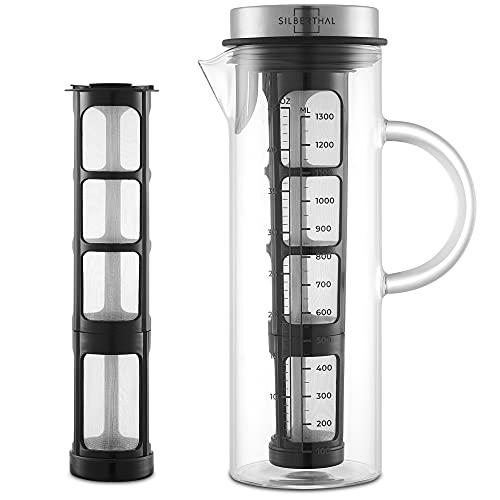 SILBERTHAL Cold Brew Coffee Maker | Cafetera fria 1,3l | Jarra de café nevera | Jarra cristal con tapa | Prepara café frio o té