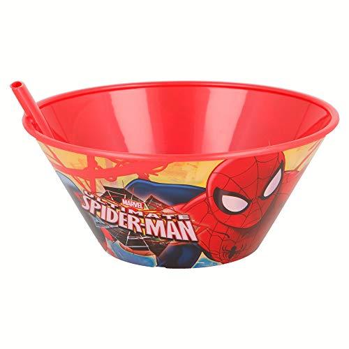Stor - Ciotola da colazione con cannuccia da 500 ml, varie licenze disponibili (Disney, Cars, Frozen, Minions, Spiderman...) Uomo Ragno