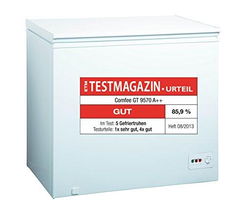 Comfee GT 9570 Gefriertruhe / A++ / 85 cm / 168 kWh/Jahr / Gefrierteil 200 Liter / reinigungsfreundlich durch wechselbare Türdichtung herausnehmbarer Gefrierkorb Energiesparsieger / weiß
