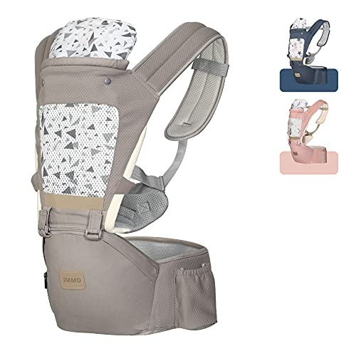 JMMD Baby Carrier with Hip Seat for Newborn & Infant & Toddler, 6 in 1 Carrier with Front and Back Carry Designed Ergonomic M Position, 360°Baby Soft Carrier Meet Outdoor Traveling All Seasons Khaki…
