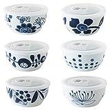 CtoC JAPAN Select 一人暮らし 食器 小鉢 ふた付き 絵変わり 6柄組 マルチ φ 13cm xH 6.2cm 400cc 日本製