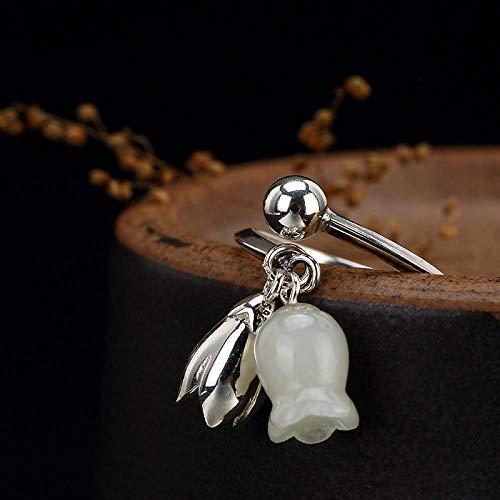 YIYIYYA Women Ring,Einstellbar Mode 925 Sterling Silber Hetian Jade White Jade Lily Anhänger Form Frauen Schmuck Ring Verstellbar Einfache Vintage Freunde Geburtstag Geschenk