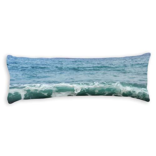 CICIDI Funda de almohada de 40 x 145 cm Beautiful-waves-sea_146671-11570 con cremallera de algodón y poliéster