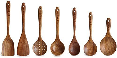Hokieni Küchenhelfer Set, 7 Stück Holz Küchenutensilien Sets, Hitzebeständig und Antihaft, Japanischer Stil pfannenwender Sets
