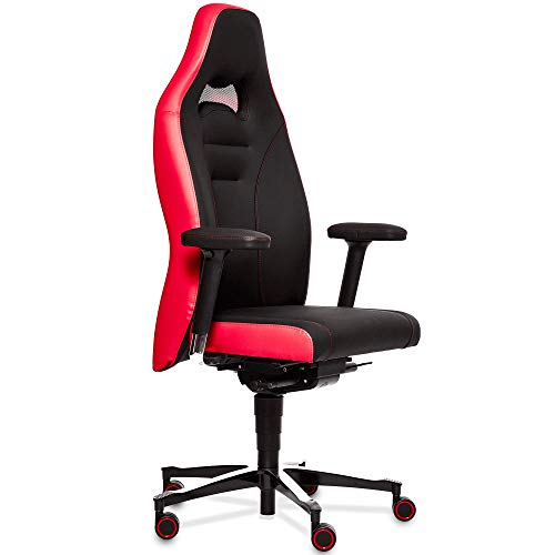 Gamechanger Gaming Stuhl Cobra Edition - Rennsitz Design - hochergonomische Synchronmechanik, atmungsaktives Kunstleder, Made in Germany (Red-Black)