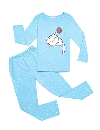 Bricnat Mädchen Night Sleep Girls Pyjama Lang Zweiteiliger Schlafanzug 130 Blau