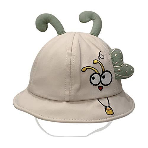 Sombrero de playa para bebés y niños, diseño de dibujos animados, protección UV, con correa de barbilla para niños de 1 a 4 años beige 46-48