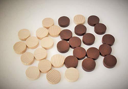 Weible Spiele 30er-Set Backgammon Spielsteine aus Ahorn-Holz (21 mm), braun/Natur
