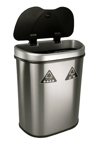 NINESTARS Automatic Touchless Infrared Motion Sensor Trash Can/Recycler with D Shape Silver/Black Lid & Stainless Steel Base, 18 Gal, Stainless