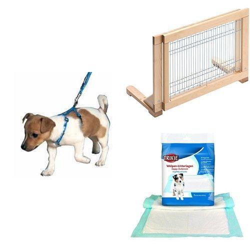 Trixie Welpengarnitur  + Trixie 3944 Hunde-Absperrgitter für Treppen und Türen + Trixie 23411 Welpen-Unterlage Nappy-Stubenrein