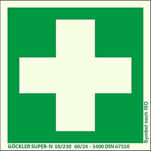 Brandengel Erste Hilfe-Symbol-Schild Gr.: 200 x 200 mm langnachleuchtende Kunststoffplatte mit selbstklebender Schaumschicht grün Symbol nach ISO 7010 SUPER-N 10/230 60/24 - 3400 DIN 67510