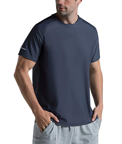Men's Ice Cool Running Shirts Quick Dry Athletic Gym T-Shirts Short Sleeve UPF 50+ Outdoor Workout Tshirts (Charcoal Grey, Medium)