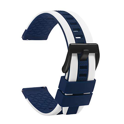 TStrap Cinturino Silicone 20mm Orologio - Caoutchouc Cinturini Orologio Rosso Blu Bianca - Étanche Militare Deployante Bracciale Uomo Donna - Cinturino Smartwatch Fibbia in Nero