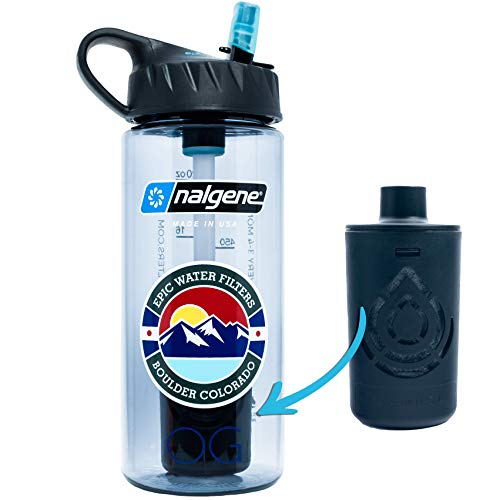 Epic Nalgene OG   Water Bottle with Filter   USA Made Bottle and Filter   Dishwasher Safe   Filtered Water Bottle   Travel Water Bottle   BPA Free Water Bottle   Removes 99.99% Tap Water Impurities (20 Ounce, Smoke Grey)