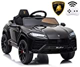 Rock Wheels Licensed Lamborghini Urus Ride On Truck Car Toy, 12V Battery Powered Electric 4 Wheels Kids Toys w/ Parent Remote Control, Foot Pedal, Music, Aux, LED Headlights, 2 Speeds (Black)