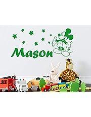 Adhesivo de pared con nombre personalizado de Disney, diseño de Mickey Mouse, personalizable, para habitación de niños, habitación de niños, dormitorio, guardería, decoración de pared