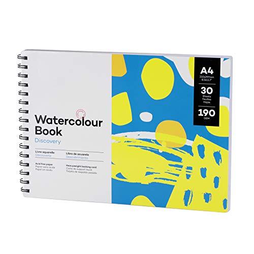 Cuaderno de bocetos en blanco, A4, bloc de bocetos, bloc de dibujo, 30 hojas, bloc de acuarela, encuadernación en espiral, tapa dura, cuaderno para colorear, bloc de dibujo profesional