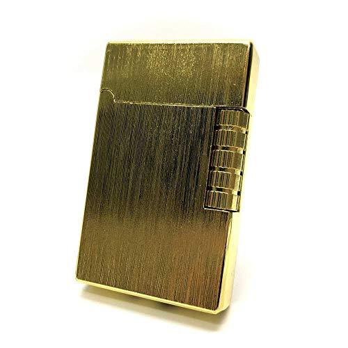 【C635】 Chequered/チェカード フリントガスライター ゴールド/金 横回しフリント式 ヘアライン 火力調整ネジ有 充填式 [並行輸入品]