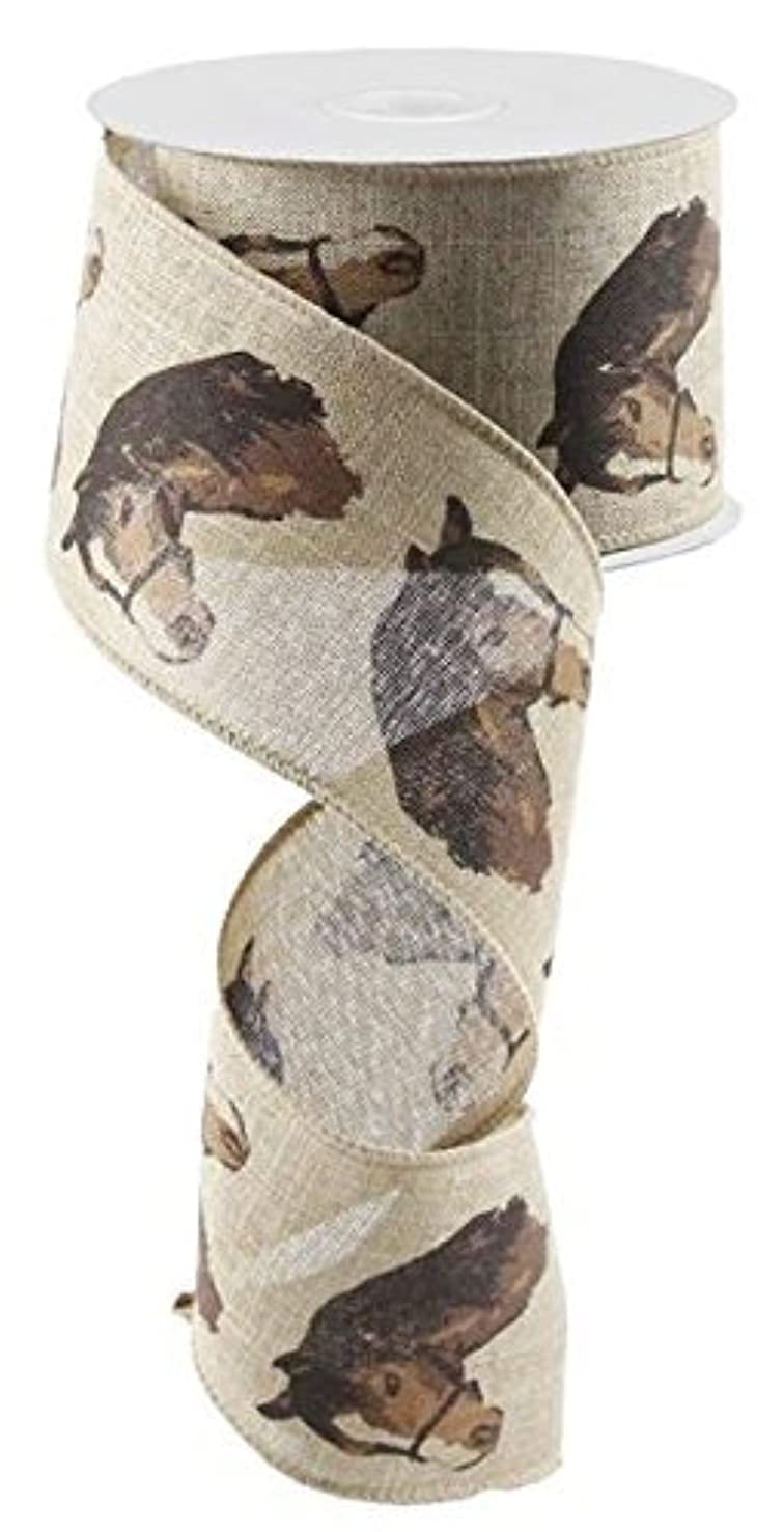 Horse Head Burlap Wired Ribbon, Brown Beige (2.5 Inches X 10 Yards) : RG0165501