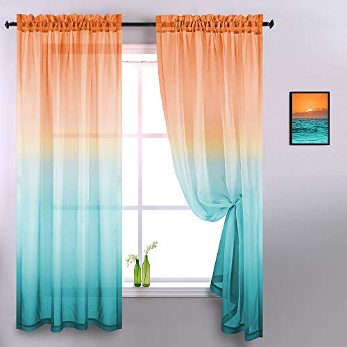 Orange and Green Sheer Curtains 84 Inches Long 2 Panels Modern Two Tone Window Semi Sheer Bright Color Ombre Curtains for Living Room Bedroom Coral Burnt Yellow Aqua Mint Turquoise Peacock Teal Accent