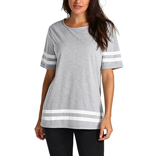 OSYARD Damen Casual Printing T-Shirt ärmellose Weste Tank Tunika Tops Bluse(EU 46 / XL, Grau)
