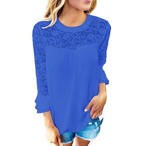 manadlian T-Shirt Femmes, T-Shirt Femmes Femmes Ladies 3/4 Sleeve Frill Tops Ladies Broderie Chemise en Dentelle Blouse T Shirt (X, Bleu)